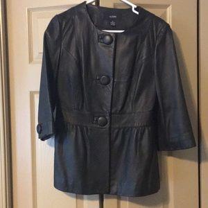 Alfani Black Leather 3/4 Sleeve Jacket Size Small